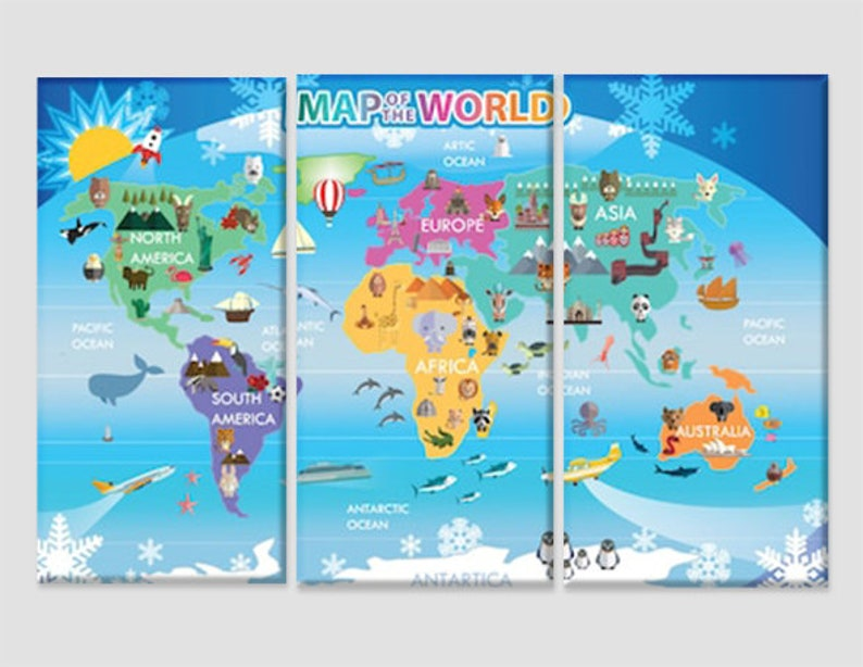 Children World Map Kids Map Children Room Wall Decor Children | Etsy