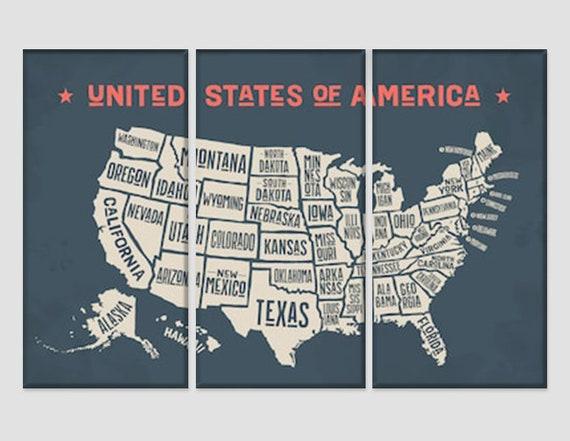 Vintage Map Of Usa Map Wall Art Push Pin Travel United States Etsy