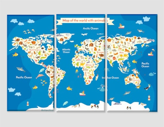 Children World Map with Animals Kids Room Decor Cartoon World Map Canvas  Art Nursery Child World Map Wall Art Nursery Wall Art Godchild Gift