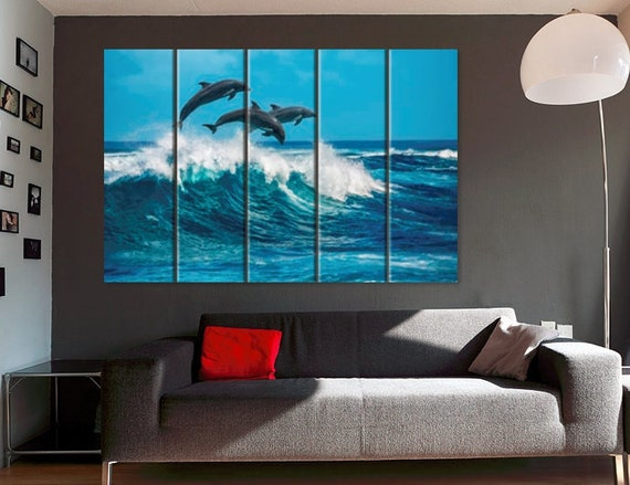 Jumping Dolphins Canvas Print Ocean Wall Art Living Room Decor Home Office Dolphin Poster Underwater Photography Canvas 3 4 5 Panel 3 Piece