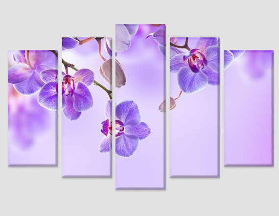 Purple Moth Orchid Flower 5 panel canvas Wall Art Home Decor Poster Print