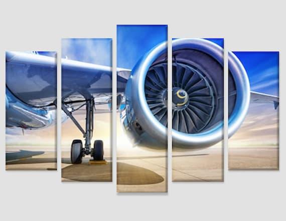 Plane Turbine Canvas Print Office Decor Pilot Gift Aircraft | Etsy
