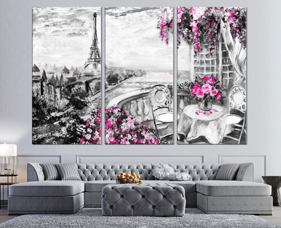 Paris Oil Painting Canvas Print Summer Cafe In Paris Romantic Wall Art Eiffel Tower Painting Black White Art Paris Wall Art Romantic Gift