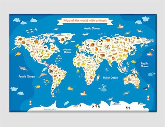 Children World Map With Animals Kids Room Decor Cartoon World Etsy