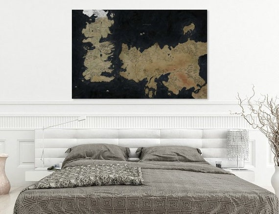 Game Of Thrones Map Game Of Thrones Art Seven Kingdoms Map Etsy
