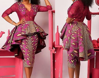 600fe8c4986 African wedding dress with overlapping pleats African clothing Women Jacket African  Women s clothing African party dress