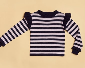 Sweater / girl / sailor / Navy / white and blue / flying / mesh / knitting / aged 3 to 9 years / registered TROISOEURS