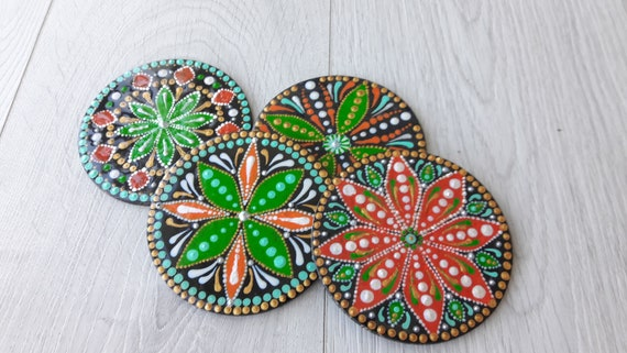 Wooden Painted Coaster Set