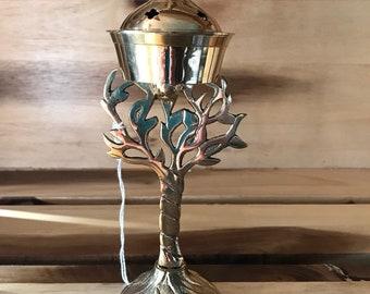 Tree Of Life Brass Cone Incense Burner