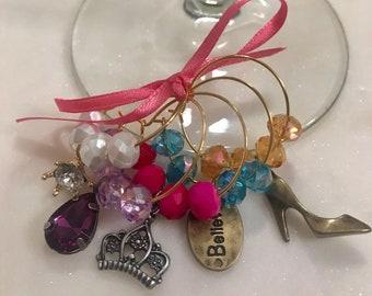 Fairy Tale Princess Wine Glass Charms set of 5