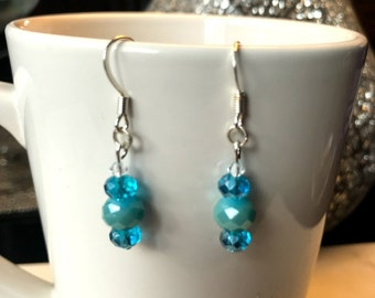 Handmade Teal Glass Bead Earrings