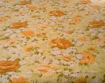 1970's Full Size Bedspread - Med. Upholstery weight cotton - Beautiful and Unused! Gold, Orange, Yellow on Chartreuse
