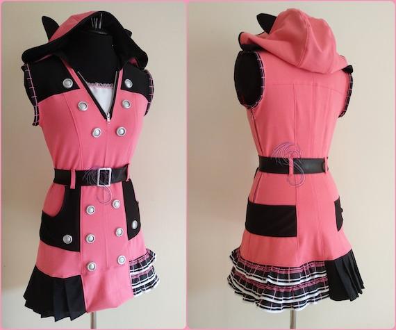 New Beautiful Kingdom Hearts Kairi Cosplay Costume Pink Dress Custom Size Suit