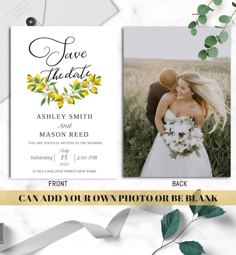 wedding invitation template bundle lemon tree diy wedding INSTANT DOWNLOAD EDITABLE watercolor wedding invitation templet set with rsvp b2be