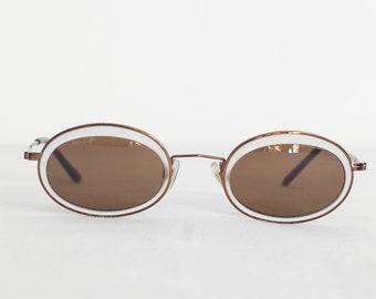Womens 90s sunglasses, oval shape, shades, light black, small, extra oval detail, unusual