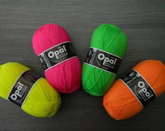 Opal - neon - 4-fold sweater & sock wool incl. sock knitting instructions - 75% virgin wool