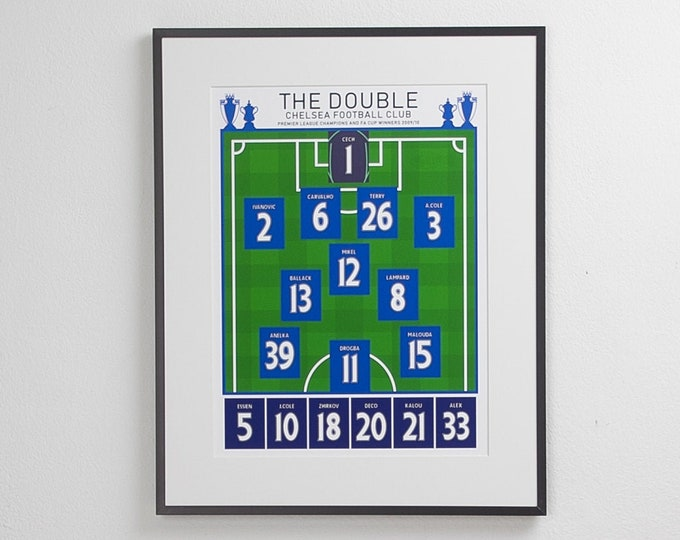 Chelsea - The Double 09/10 Classic XI A3 Print