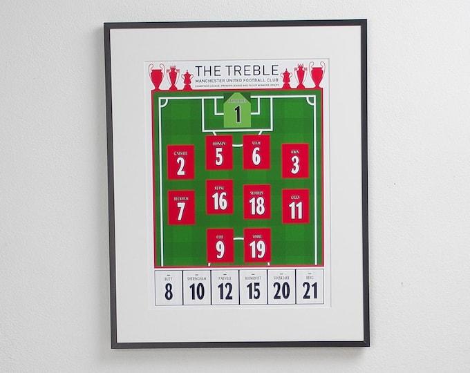 Manchester United - The Treble 98/99 A3 Print