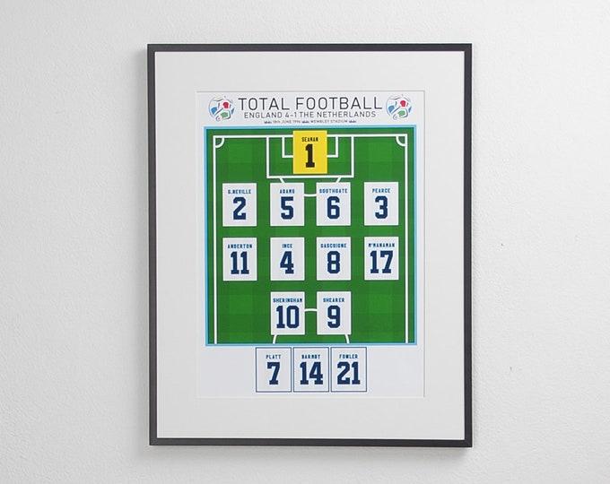 England - Total Football Euro 96 A3 Print