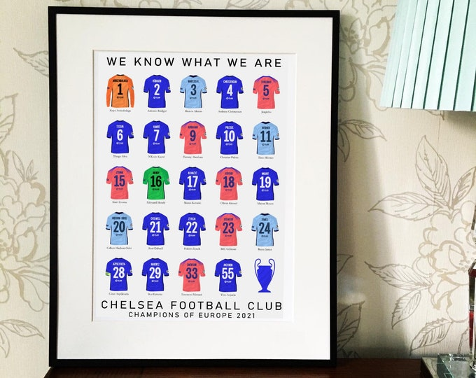Chelsea - Champions of Europe 2021 A3 Print