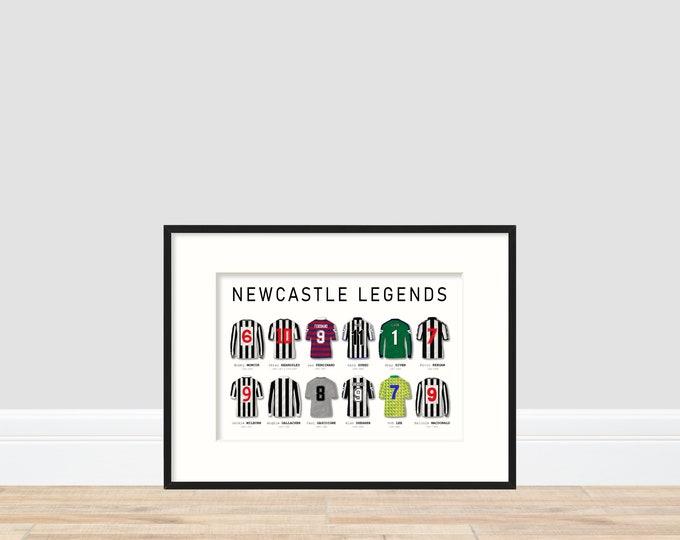 Newcastle United Legends A4 Print