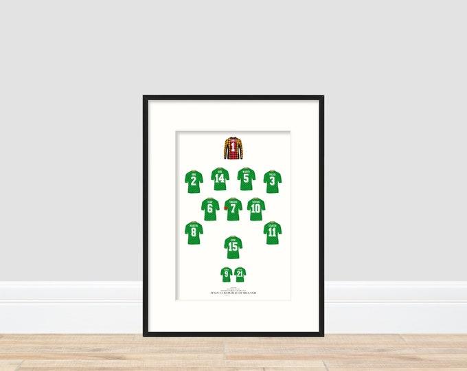 Ireland - Italy 0-1 Ireland A4 Print