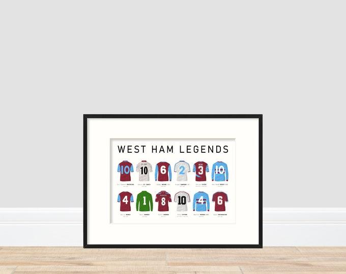 West Ham United Legends A4 Print