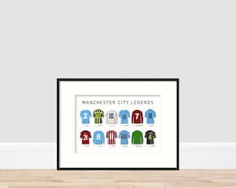 Manchester City Legends A4 Print