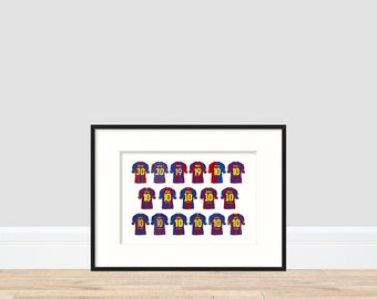 Lionel Messi - FC Barcelona Home Shirts A4 Print