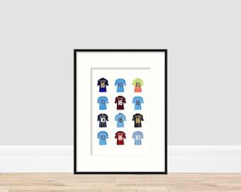 Manchester City - Sergio Aguero A4 Print