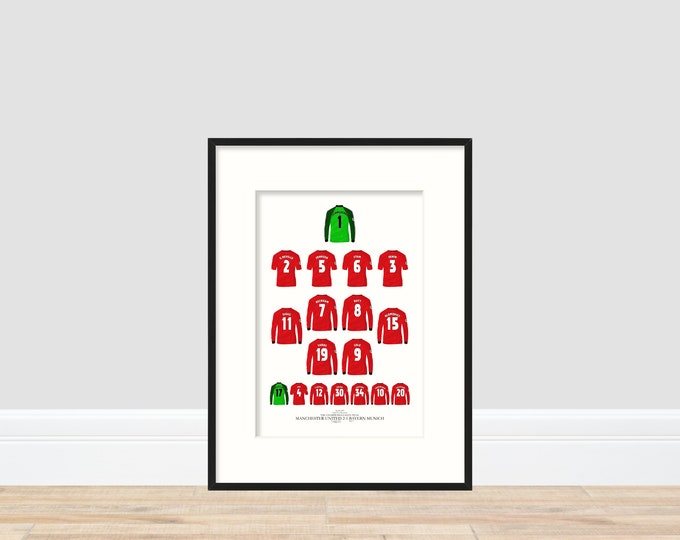 Manchester United - Kings of Europe 1999 A4 Print