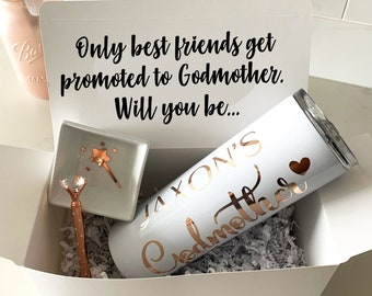 Godmother Proposal Box with Tumbler, Godmother Gift Box, Godmother Proposal, Personalized Godmother Gift, Rose Gold, Will you be my