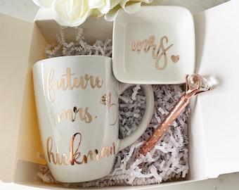 8e9fe277b6 Bride gift box set, Future mrs box set, Personalized bride mug gift set,  future mrs mug ring dish set, bride box, bride engagement gift idea