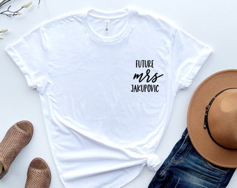 Engagement gift, personalized future mrs t shirt, new mrs, bride to be gift, custom bridal gift, bride t-shirt, future mrs tee, future mrs
