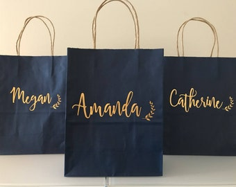 Bridesmaid Gift Bags Navy Gift Bag Gold Wedding Gift Bag Personalized Bag Personalized Gift Bag Name Gift Bags Boho Laurel Script & Personalized gift bag | Etsy