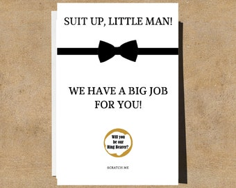 Ring Bearer Proposal Card - Will You Be Our Ring Bearer, Will You Be My Ring Bearer, Scratch Off Card, Jr. Groomsman Proposal