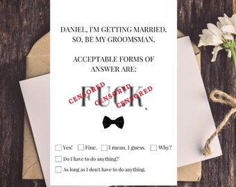 Will You Be My Groomsman Card Funny, Funny Groomsman Proposal Card, Simple, Funny Be My Groomsmen Card, Funny Best Man Card