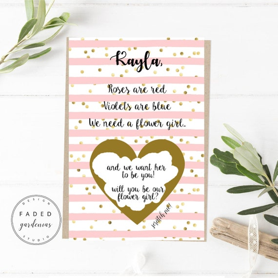 Flower Girl Scratch Off Proposal Card Gold Pink Will You Be Etsy