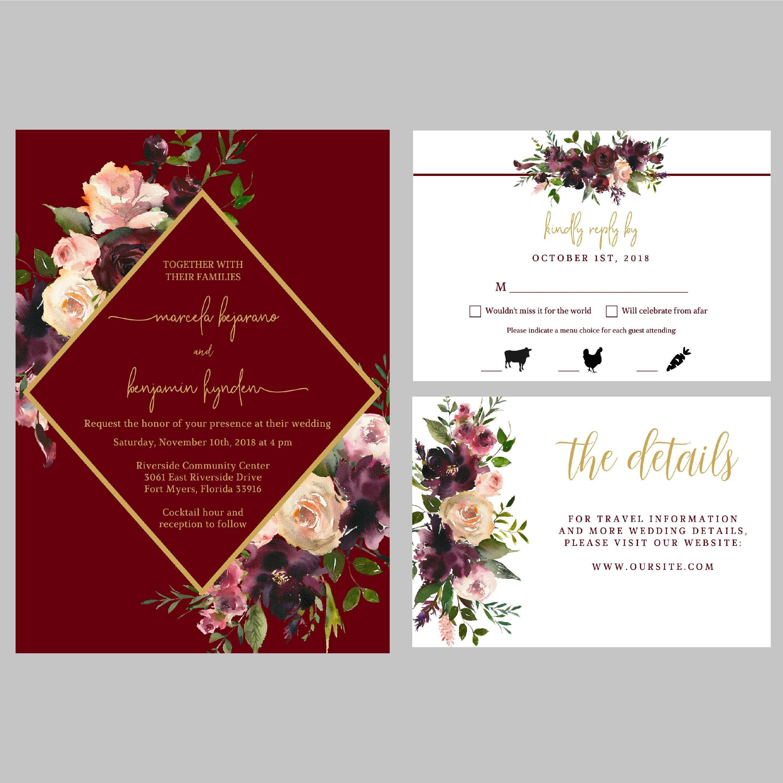 Rustic Floral Wedding Invitation Suite Set Burgundy Gold   Etsy