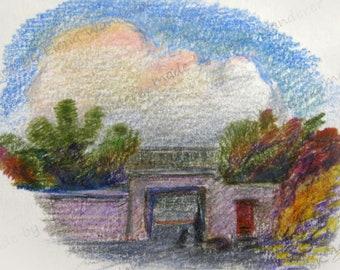 Landscape with gate postcard.