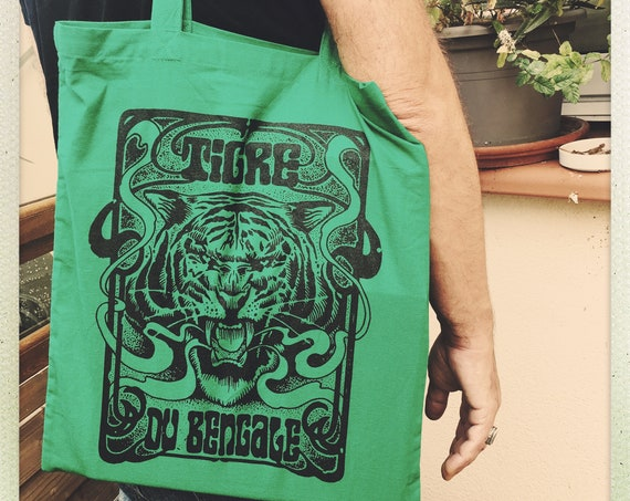 "Mr. Tote Bag. ""BENGALE TIGRE"" green.  Artwork Sadhu The Serbian"