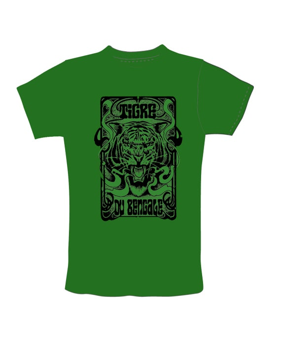 "New! T Shirt Women's BOTTLE GREEN! Etsy only limited edition ""Tiger of Bengal"" Artwork Sadhu"