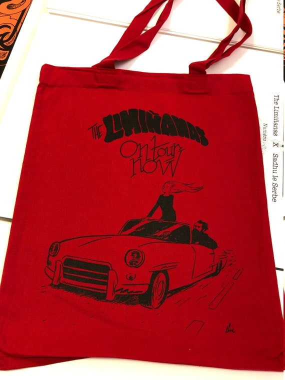 "Tote Bag. ""Liminanas on tour"" Red.  elric Dufau artwork"