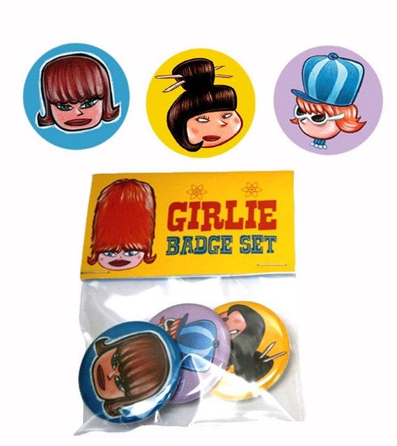 """Set of 3 """"Girlie"""" Badges"""