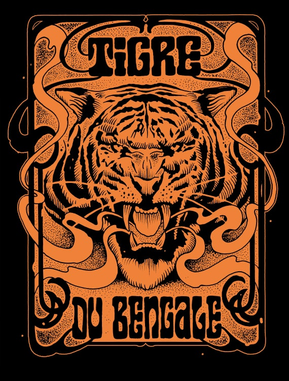 "Poster ""Tiger of Bengal"" Screengraphy - Artwork Sadhu The Serb -Limited Edition 70 copies"