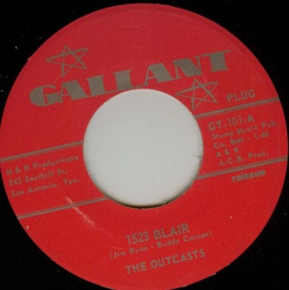 Repro garage punk 6O's - 45t/7' No sleeve- Outcasts- 1523 Blair/Smokestack Lightning