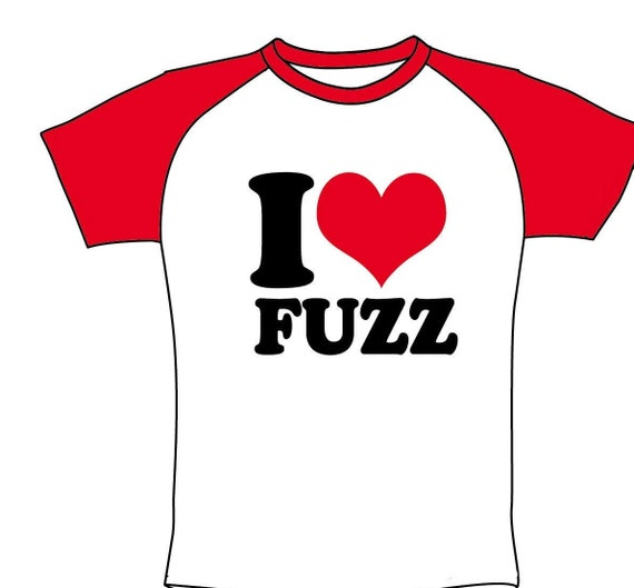 Men's T Shirt- I love FUZZ- Limited- White and red-Raglan