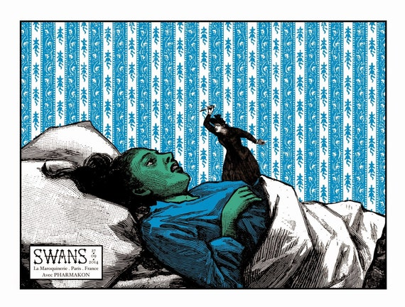 Silkscreened gig poster for Swans & Pharmakon at La Maroquinerie - Paris - 2014,- Serigraphie 3 couleurs-Cyrille Rousseau- Limited