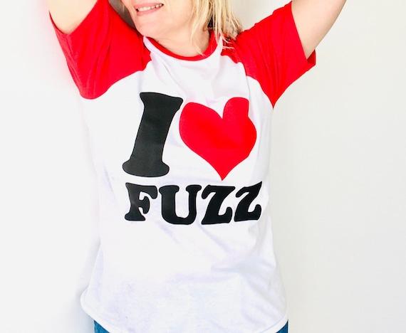 Men's T-Shirt - I love FUZZ - white and red cotton - Raglan