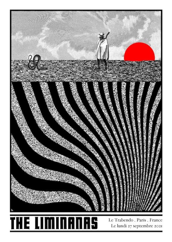 Limiñanas au Trabendo- Cyrille Rousseau-Sérigraphie 2 couleurs, édition limitée